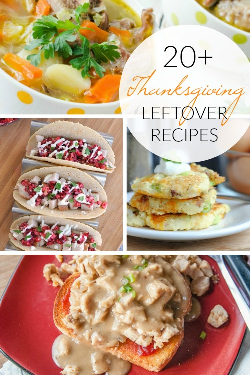 Thanksgiving Leftover Recipes pinnable image; www.makeoversandmotherhood.com