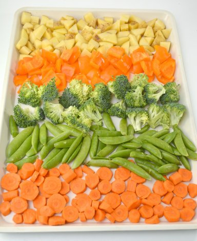 Chunked veggies laid out