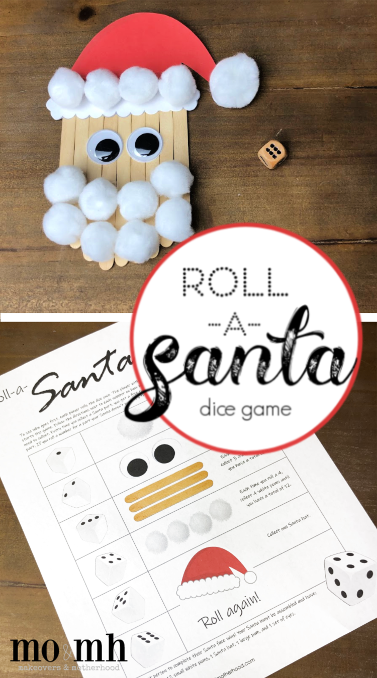 Roll-a-Santa game -- Pinterest image