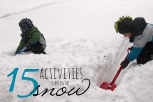 Boys playing in snow with shovels; www.makeoversandmotherhood.com