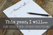 This Year I Will… GOAL printable